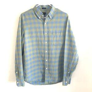 J Crew Slim Fit Linen Blue Green Button Up Shirt M